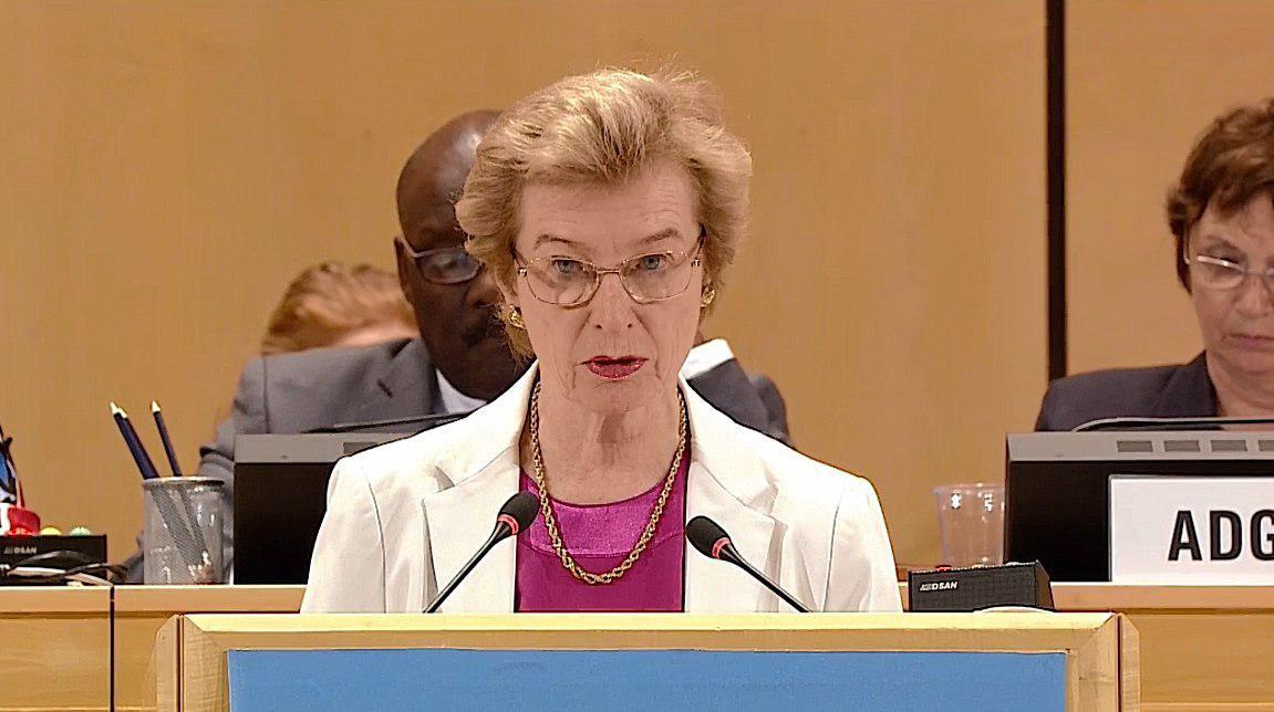 馬爾他騎士團常駐聯合國日內瓦分部代表團大使Marie-Therese Pictet-Althann為我執言
