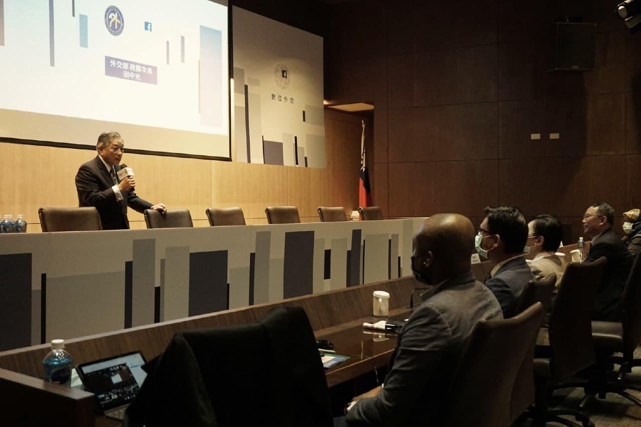 圖一:外交部政務次長田中光於「數位外交工作坊」中開幕致詞。